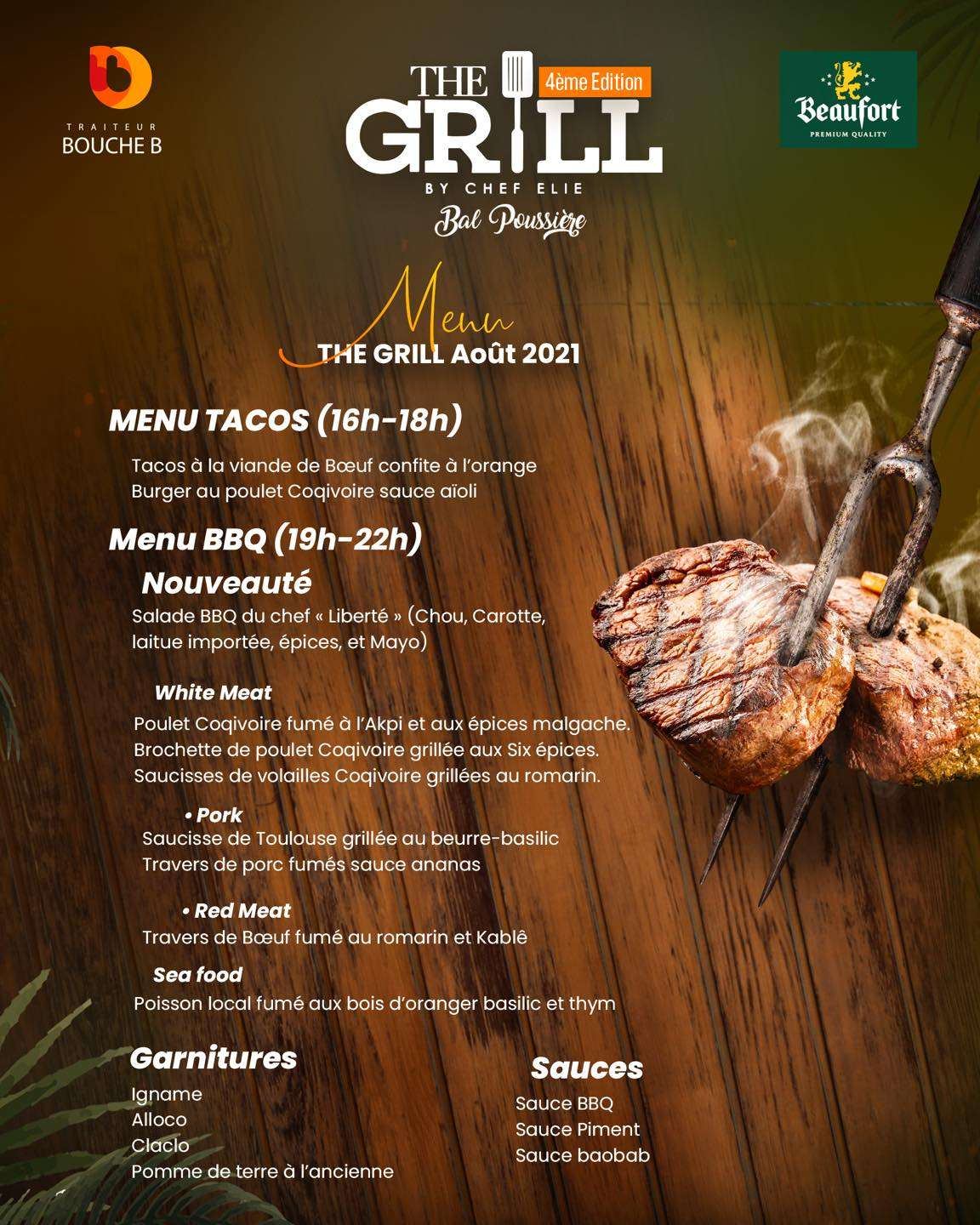 The Grill by Chef Elie, le Menu